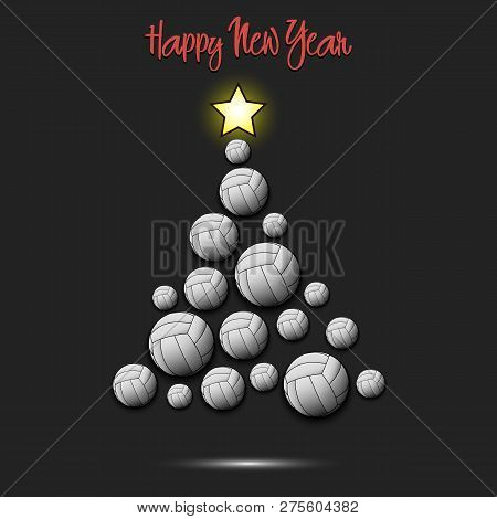 Happy New Year. Christmas Tree From Volleyball Balls. Volleyball Themed Christmas Tree. Pattern For