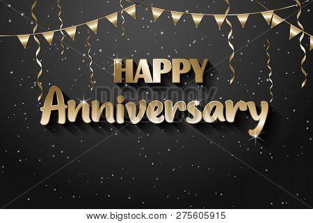 Gold Vector Illustration Happy Birthday, Golden Texture Luxurious Design, Gold Anniversary Design El