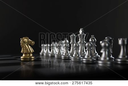 Chess (knight Confront Opponent Or Competitor) On Black Background. Strategy, Market Share, Business