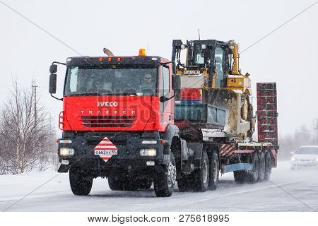 Novyy Urengoy, Russia - March 30, 2013: Heavy Trailer Truck Iveco Trakker At The Interurban Road.