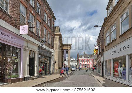 York, England - April 2018: Shopping Area Along Blake Street Towards St Leonard Place In Historic Di