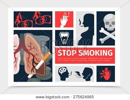 Flat No Smoking Infographic Template With Unhealthy Lungs Heart Tooth Smoking Pregnant Woman Men Bur