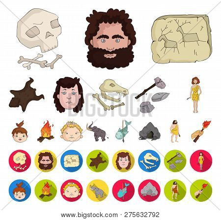 Life In The Stone Age Cartoon, Flat Icons In Set Collection For Design. Ancient People Vector Symbol
