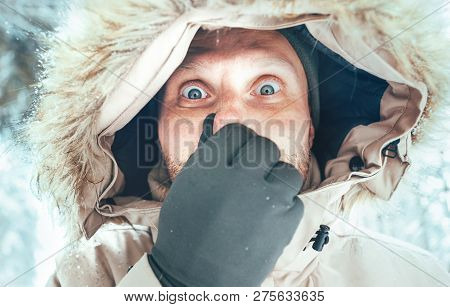 Funny Man Dressed In Warm Hooded Casual Parka Jacket Outerwear With Frozen Nose Winter Portrait. Hea