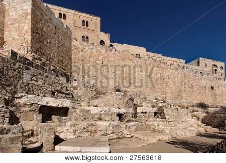 Wand des Jerusalem Altstadt nahe dem Tor Mist