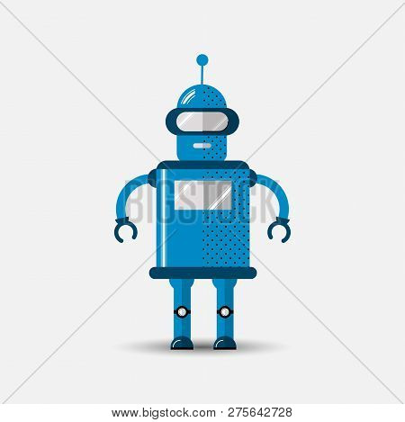 Funny Vector Robot Icon In Flat Style Isolated On Grey Background. Cute Flat Vector Illustration Of