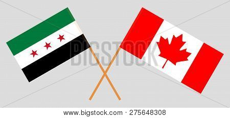 Syrian National Coalition And Canada. Flags Of Interim Syrian Government And Canadian. Official Colo