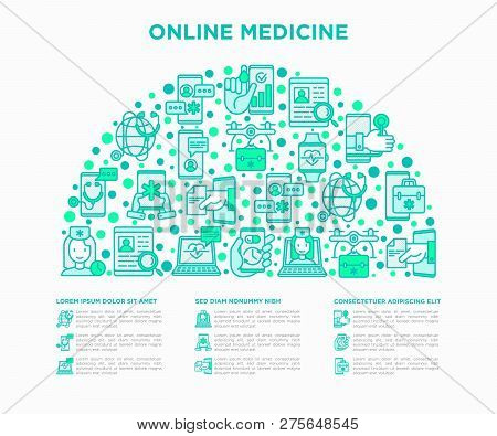 Online Medicine, Telemedicine Concept In Half Circle With Thin Line Icons: Pill Timer, Ambulance Onl