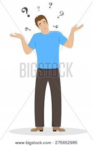 The Surprised Young Man Shrugs. Flat Isolated Illustration.