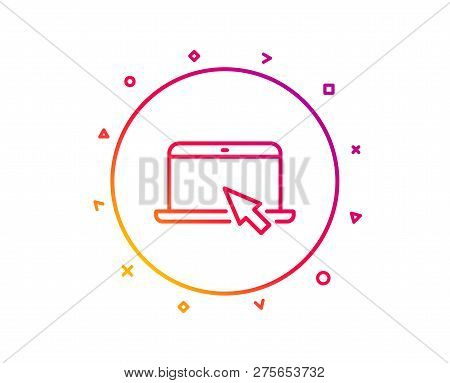 Laptop Computer Icon. Notebook With Mouse Cursor Sign. Portable Personal Computer Symbol. Gradient P