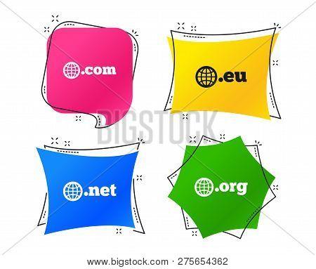 Top-level Internet Domain Icons. Com, Eu, Net And Org Symbols With Globe. Unique Dns Names. Geometri