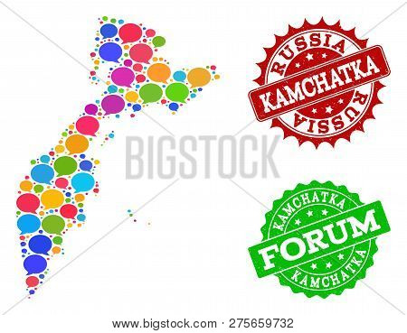 Social Network Map Of Kamchatka Peninsula And Distress Stamp Seals In Red And Green Colors. Mosaic M