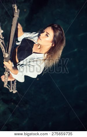 She Is Entirely Dominated By Ambition. Pretty Woman Climb Jacobs Ladder To The Top. Sexy Woman Climb