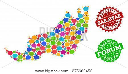 Social Network Map Of Malaysian Sarawak And Rubber Stamp Seals In Red And Green Colors. Mosaic Map O