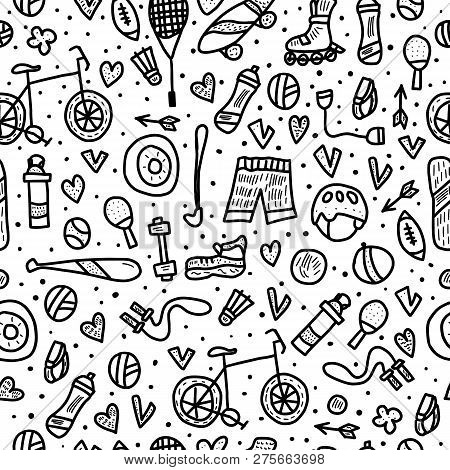 Seamless Pattern Of Sport. Healthy Lifestyle Tools, Activities Symbols In Doodle Style. Fitness Vect