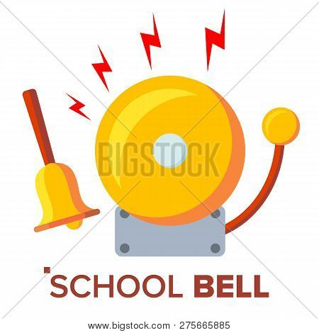 School Bell, Ring Vector. Ringing Classic Electric Bell And Hand Gold Metal Ring Isolated Cartoon Il