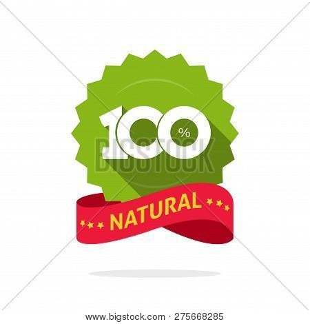 100 Natural Vector Green And Red Label, Stamp Or Rubber Isolated, 100 Percent Natural Sticker Or Log