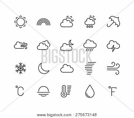 Weather Forecast Linear Icons Set. Snow, Rain, Sleet. Shower Or Drizzle, Thunderstorm. Sunny, Cloudy