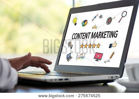 Content Marketing Concept On Laptop Monitor In Office