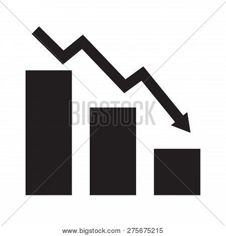 Falling Chart Icon On White Background. Flat Style. Falling Chart Icon For Your Web Site Design, Log
