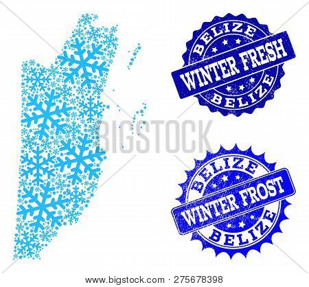 Icy Map Belize Grunge Vector Photo Free Trial Bigstock