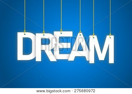 Dream word hanging on string
