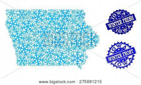 Frozen Map Iowa State Vector & Photo (Free Trial)   Bigstock
