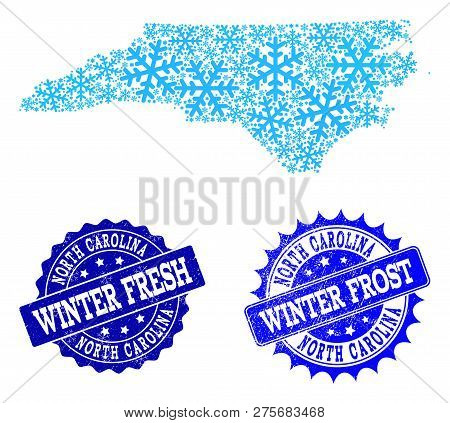 Freezing Map Of North Carolina State And Grunge Stamp Seals In Blue Colors With Winter Fresh And Win