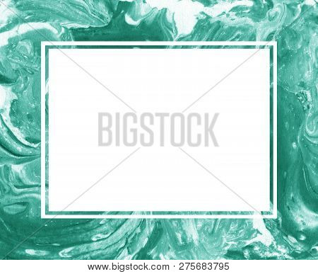 Hand Painted Green Marble Frame. Ink Marble Texture. For Design Of Your Site, Cards Or Invitations.