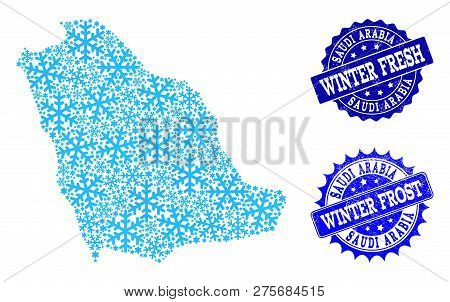 Icy Map Of Saudi Arabia And Scratched Stamp Seals In Blue Colors With Winter Fresh And Winter Frost