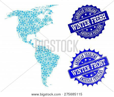 Icy Map Of South And North America And Grunge Stamp Seals In Blue Colors With Winter Fresh And Winte