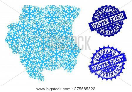 Icy Map Of Suriname And Rubber Stamp Seals In Blue Colors With Winter Fresh And Winter Frost Texts.
