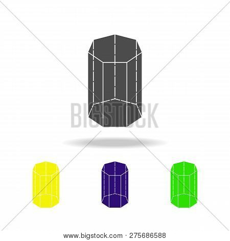 Heptagonal Prism Colored Icons. Elements Of Geometric Figure Colored Icons. Can Be Used For Web, Log