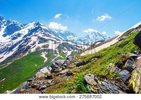 Spring Mountains Landscape. Caucasus Mountains In Georgia. Bright Day In Svaneti Region. Mountain Sc
