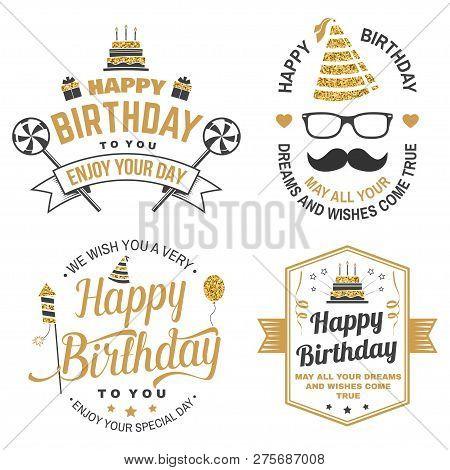 Wish You A Very Happy Birthday Dear Friend. Badge, Sticker, Card, With Birthday Hat, Firework, Musta