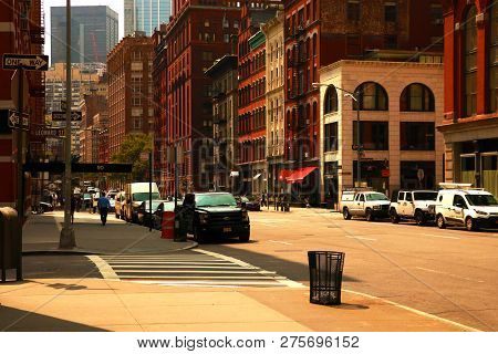 New York, Usa - September 2, 2018: New York City Street Road In Manhattan. Urban Big City Life Conce