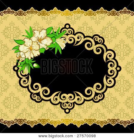 The decorative frame on the background of lace with a bouquet of flowers vector