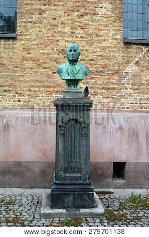 Ludvig M. Lindeman monument, was a Norwegian composer and organist. ( 1812 â?? 1887) He is most noted for compiling Norwegian folk music in his work. Near Oslo's Cathedral. June 17,2018. Oslo,Norway