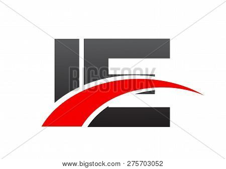 Letters Ie Logo Design Black And Red