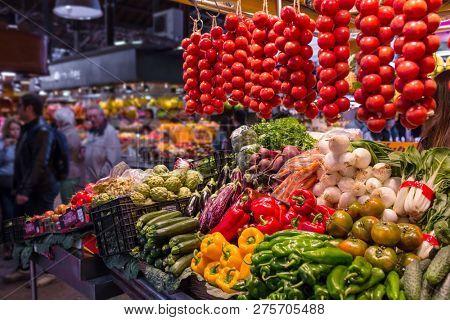 Barcelona, Spain - March 27, 2018: The Mercat de Sant Josep de la Boqueria, a large public market in the Ciutat Vella district in Barcelona, Spain.