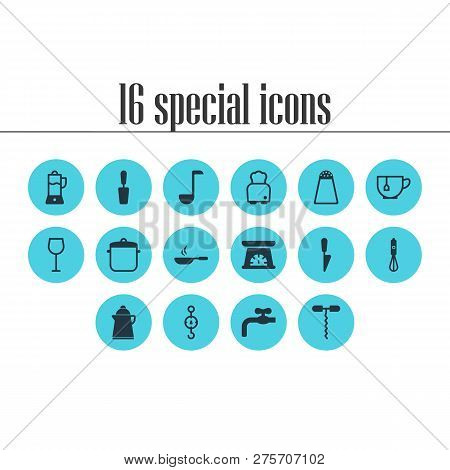Illustration Of 16 Kitchenware Icons. Editable Set Of Kitchen Scale, Waterworks, Scales And Other Ic
