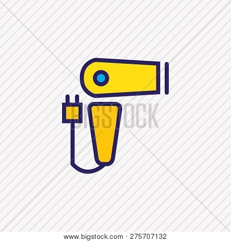 illustration of hairdryer icon colored line. Beautiful hotel element also can be used as blow dryer icon element. poster