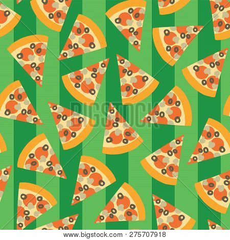 Pizza Slice Seamless Vector Pattern. Background With Hand Draw Pizza. Doodle Pizza With Olives, Mush