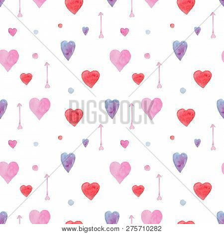 Tender Seamless Watercolor Pattern With Red, Blue And Pink Hearts And Arrows. Beautiful Lovely Backg