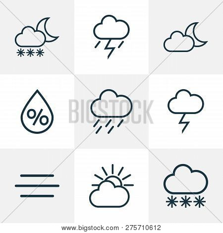 Climate Icons Line Style Set With Rainstorm, Breeze, Moonshine And Other Wind Elements. Isolated Vec