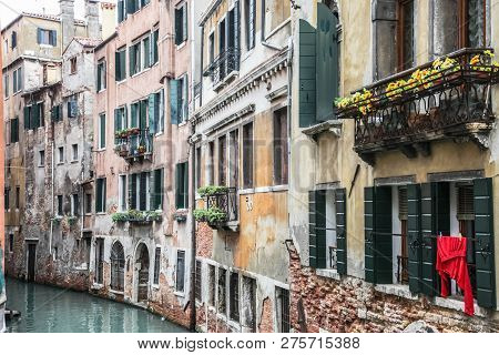 Venice, Italy - May 29, 2016: Venice In Italy, The Architecture Of The City, Venice Is A Popular Tou