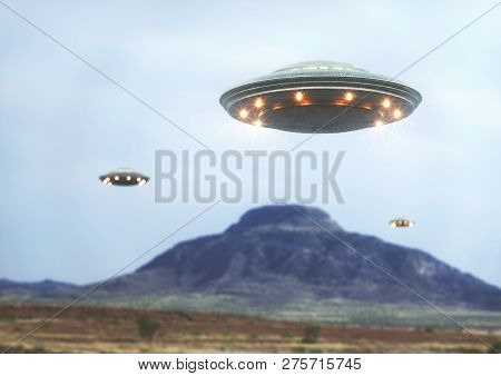 Unidentified Flying Object Over The Desert With A Mountain Behind. 3d Illustration.