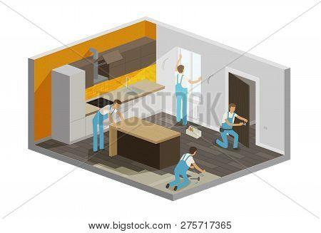 Home Repair, Renovation Interior. Builders People Work In A Team, Isometric Vector Illustration