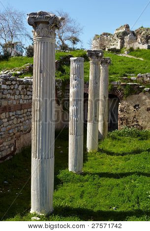 The ruins of the st. Johns Basilica constructed in the 5th Century AD by Emperor Justinian on Ayasuluk Hill Selcuk Ephesus Turkey. poster