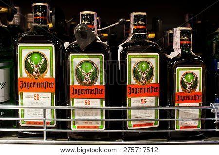 Kyiv, Ukraine - December 19, 2018: Bottles Of Jagermeister On Shelves In A Supermarket. Jägermeister